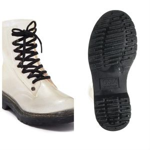 Ginny Clear Silver Glitter Lace Up Rainboots